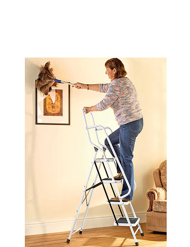 Four Step Safety Ladder with Safety Rail