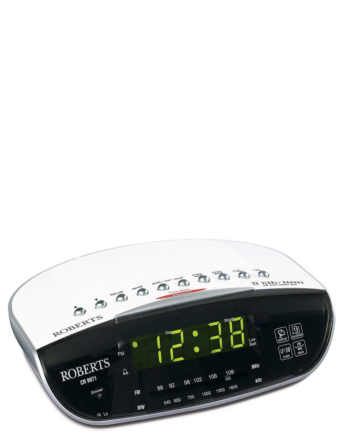 roberts radio controlled dual alarm clock home clocks. Black Bedroom Furniture Sets. Home Design Ideas