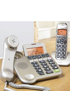 Big Buttoned Corded and Cordless Phone with Answer Machine - 2 Phones