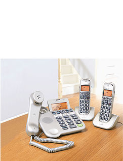 Big Buttoned Corded and Cordless Phone with Answer Machine - 3 Phones