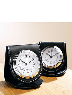 Genuine Leather Folding Wallet Quartz Alarm Clock
