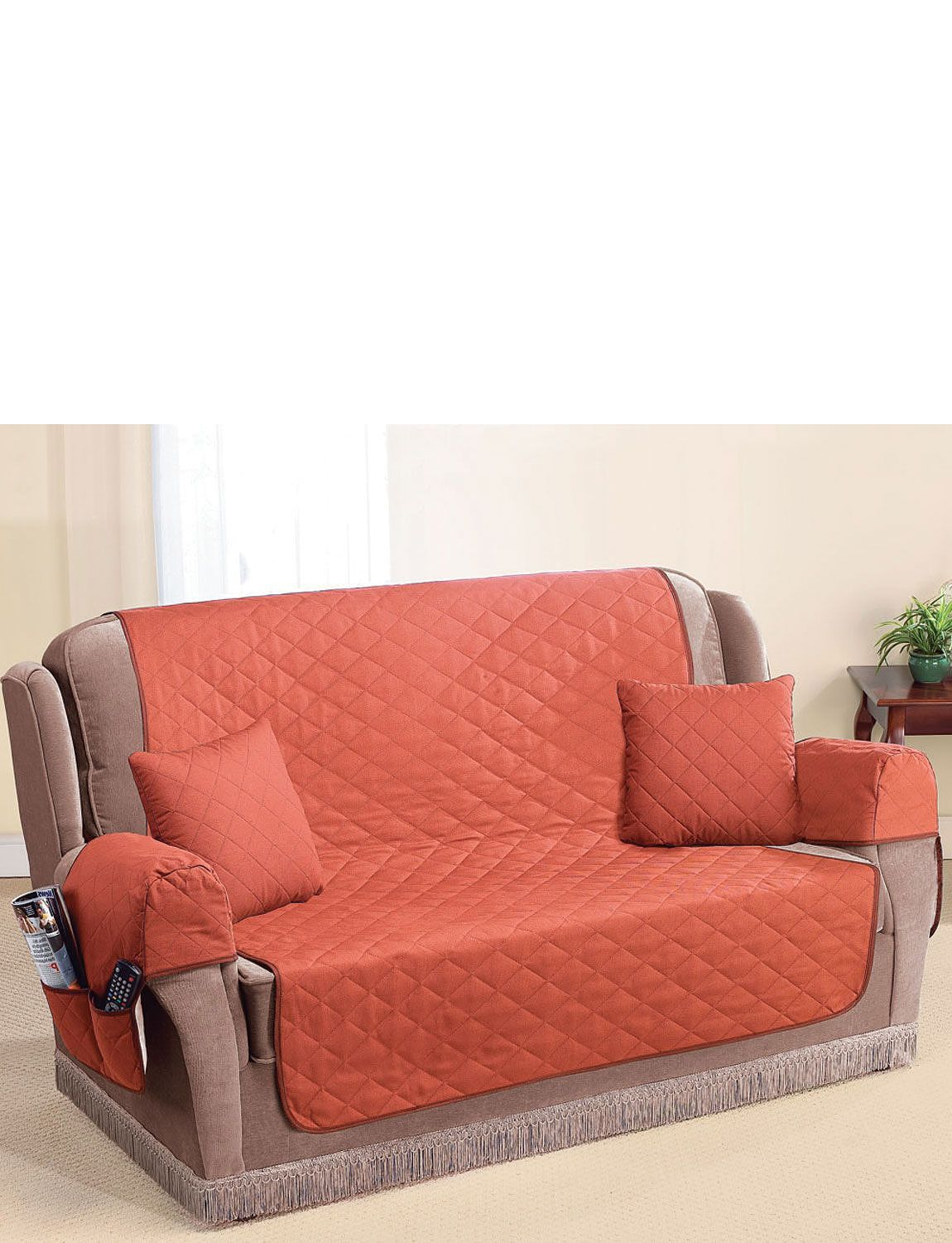 QUILTED WASHABLE ARM CAP FURNITURE PROTECTOR SET Home
