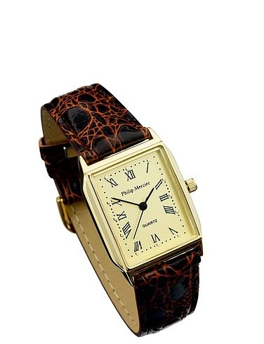 Mens Gold Face Classic Square Watch - Brown Strap