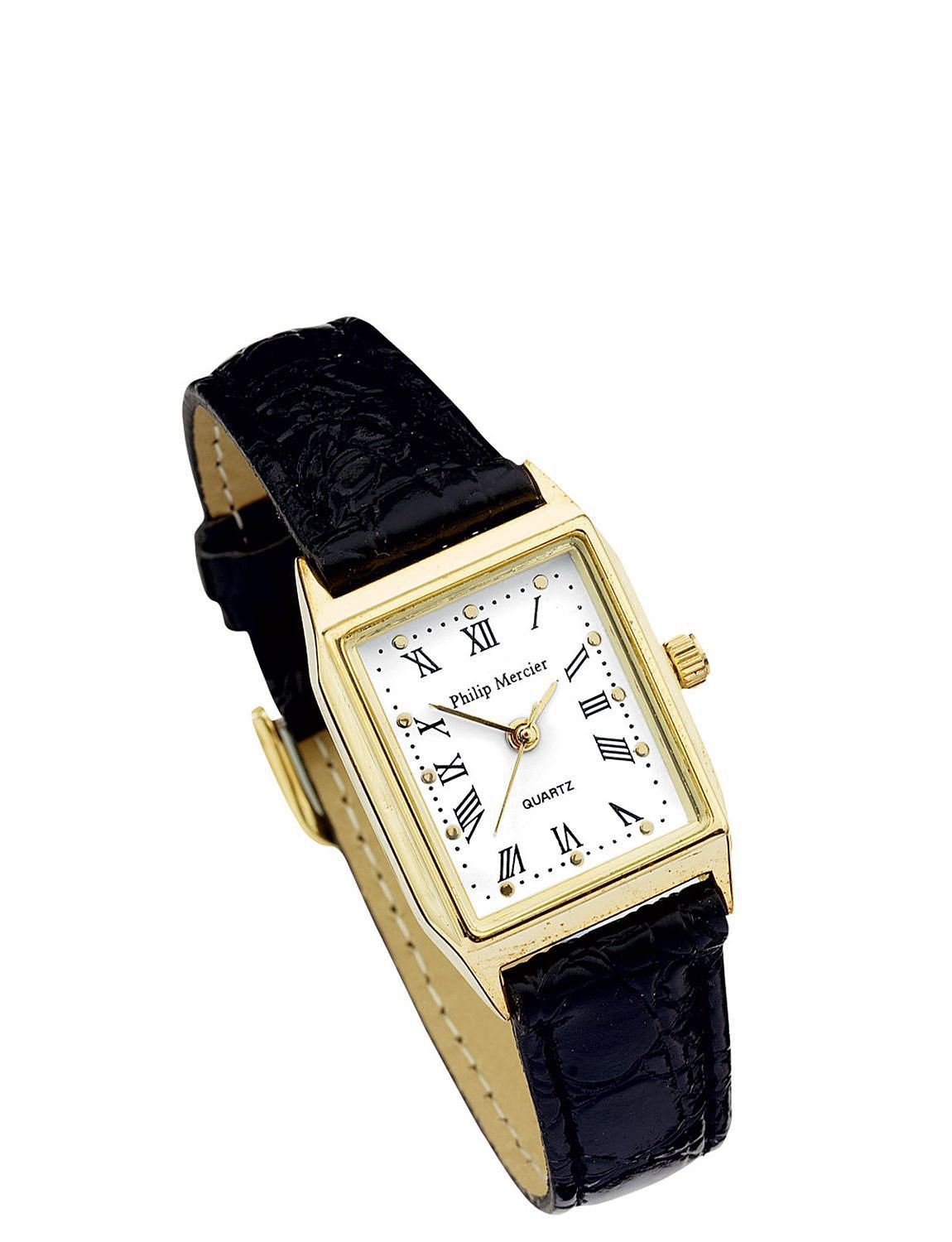Ladies White Face Black Strap Classic Square Face Watch