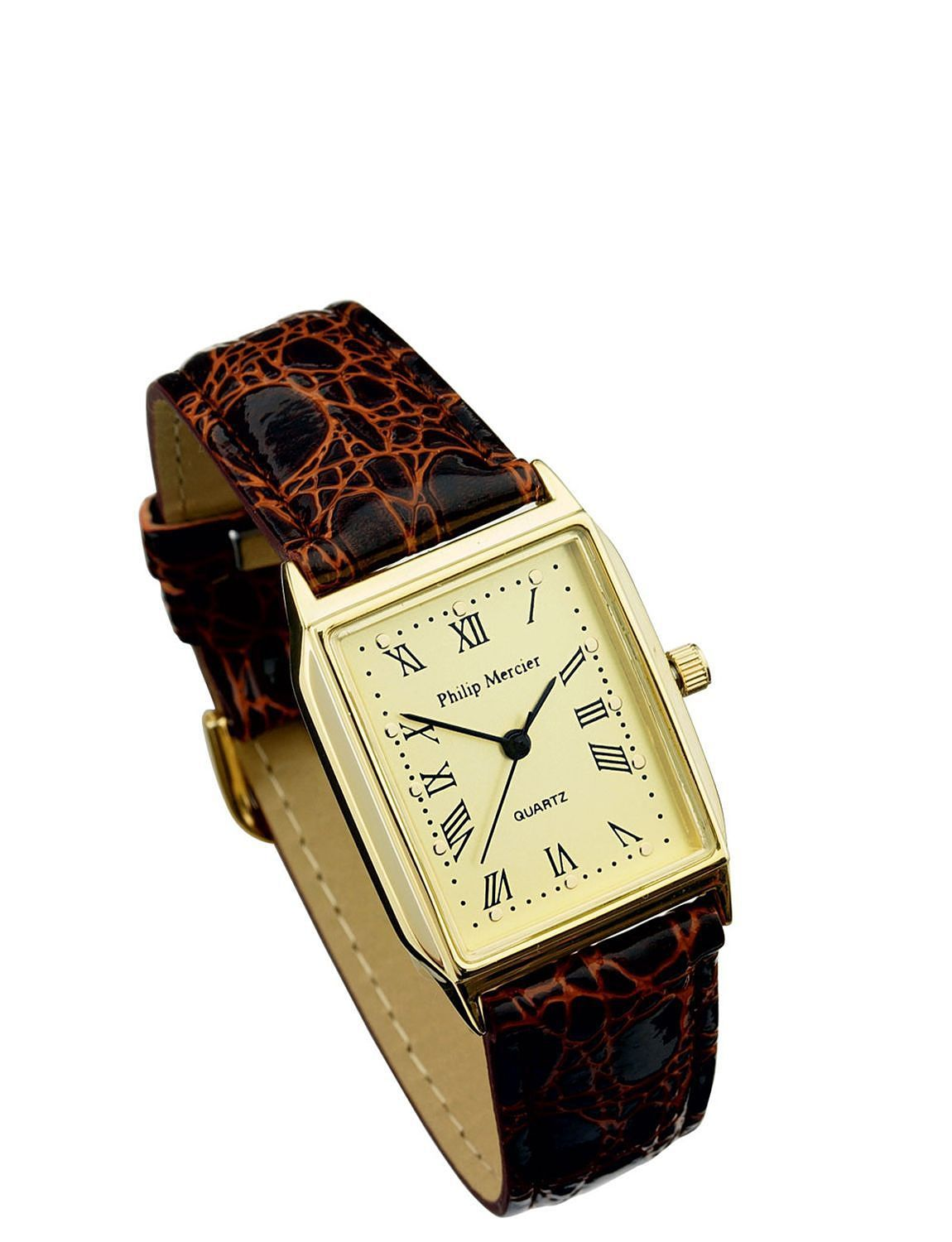 Ladies Gold Face Brown Strap Classic Sqaure Face Watch