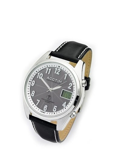 Solar Powered Radio Controlled Watch With Day Window Leather Strap