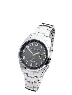 Solar Powered Radio Controlled Watch With Day Window Bracelet
