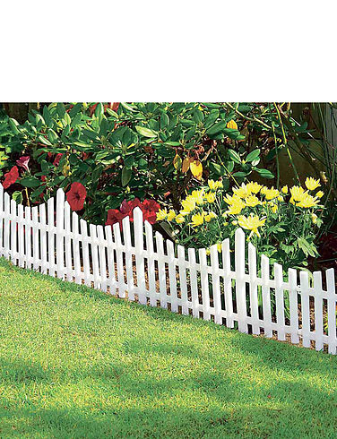 Set of 4 White Garden Fence Panel