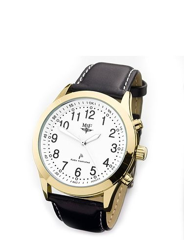 Mens Radio Controlled Watch With Black Leather Strap