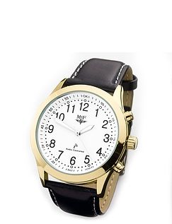 Ladies Radio Controlled Watch With Black Leather Strap
