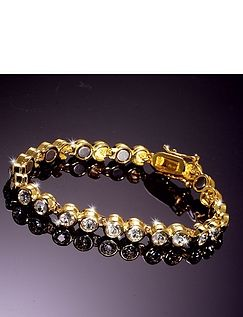 Gold Plated Magnetic Tennis Bracelet With 26 Swarobski 'Diamonds'