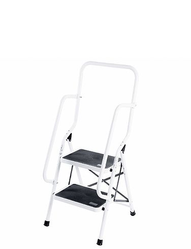 Two Step Safety Ladder with Safety Rail