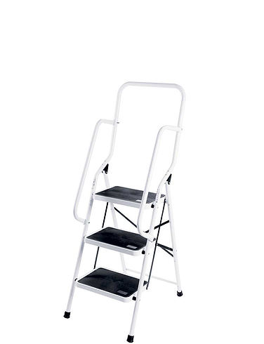Three Step Safety Ladder with Safety Rail