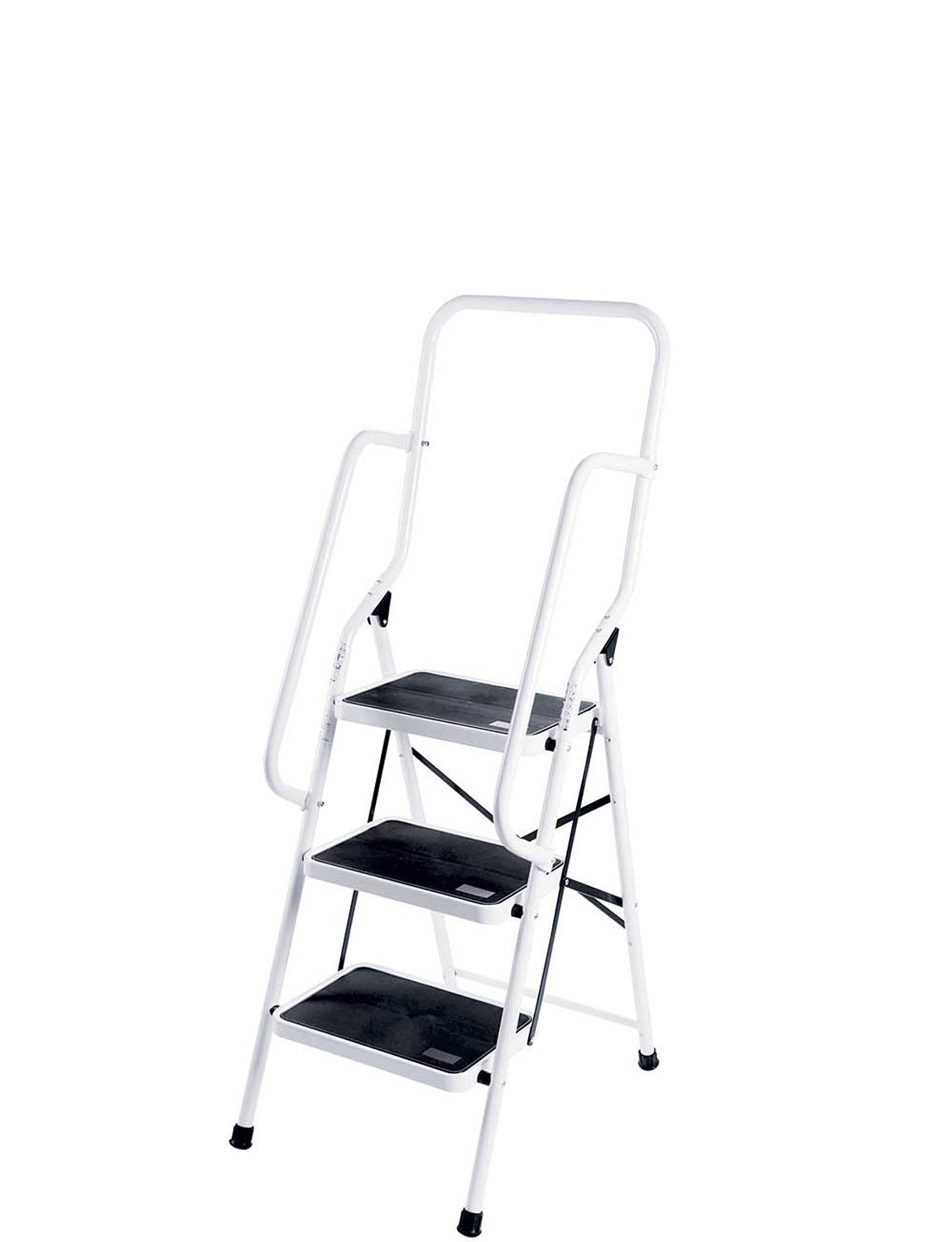 Three step saftey ladder with safety rails home household
