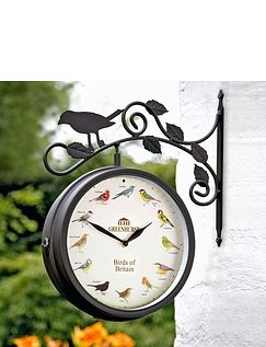 2 IN 1 GARDEN BIRD CLOCK AND THERMOMETER