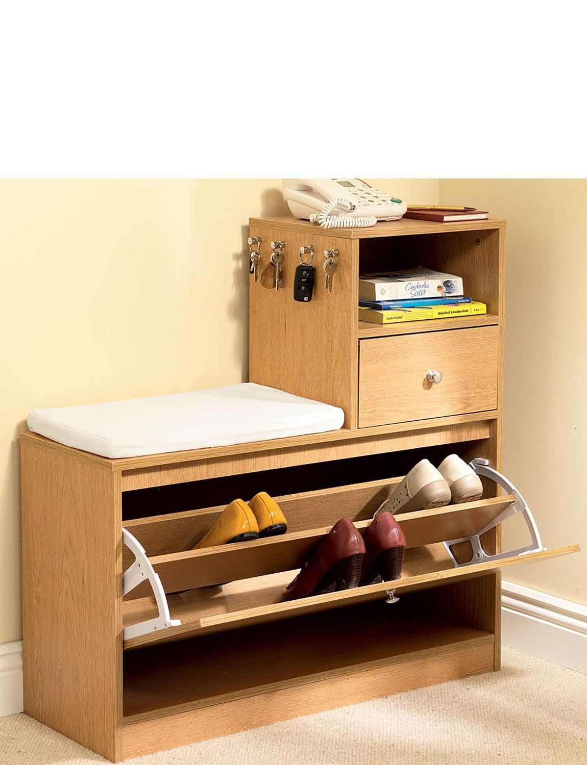 Hall Storage Bench With Shoe Store Telephone Table Home Furniture