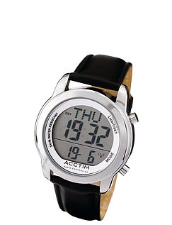 Easy-Read Large Number Radio Controlled Watch Leather Strap