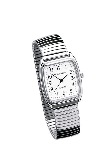 Men's Square Face Silver Expander Watch