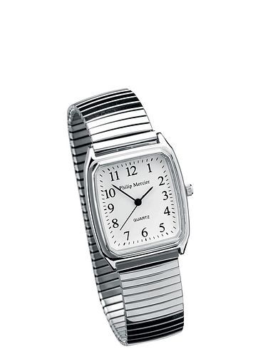 Ladies Square Face Silver Expander Watch