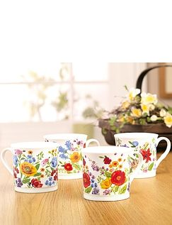 Wild Flowers- Fine China Mugs Set