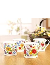 Wild Flowers Fine China Mugs Set