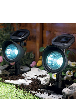 LED Solar Powered Security Spot Lights - Set of 2