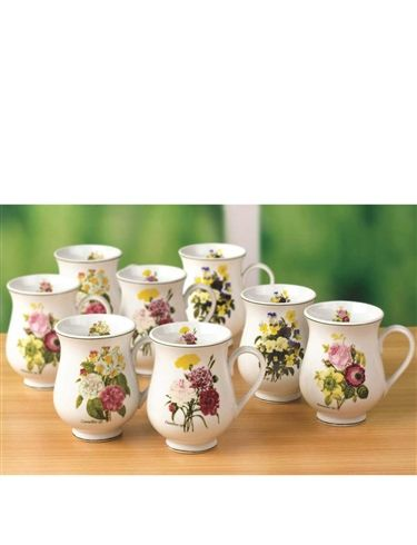 Set Of 4 Porclain 'Spring Posy' Mugs