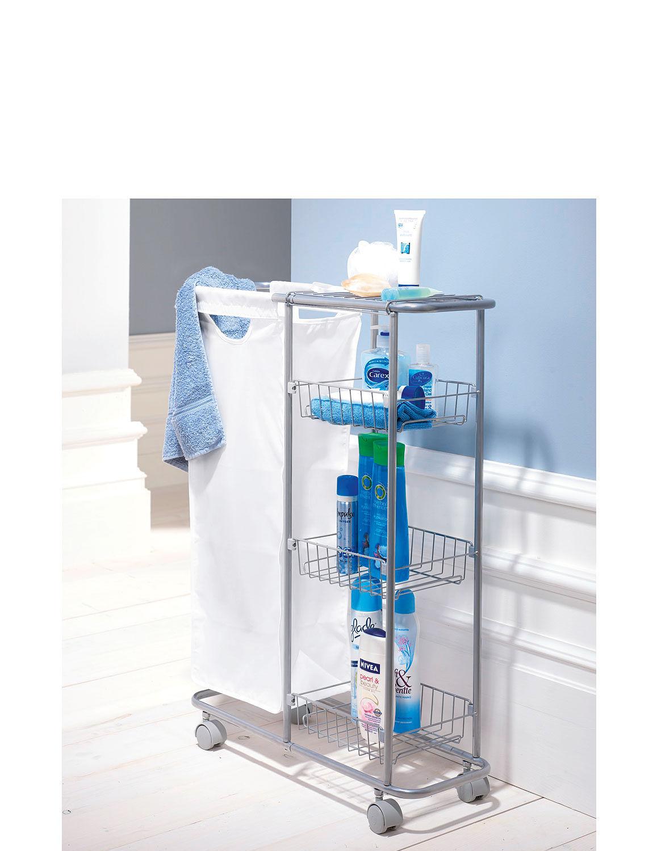 slim line trolley with laundry basket chums. Black Bedroom Furniture Sets. Home Design Ideas