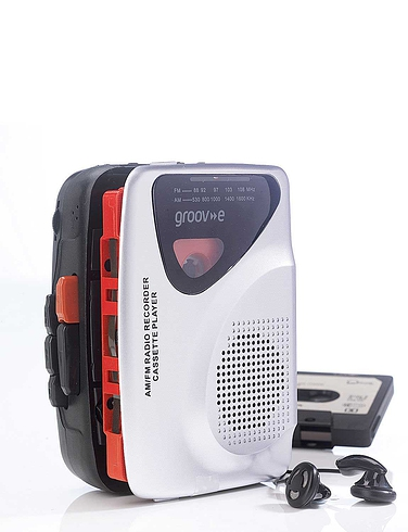 Groove Personal Cassette Player and Recorder With Radio and Speaker - Silver