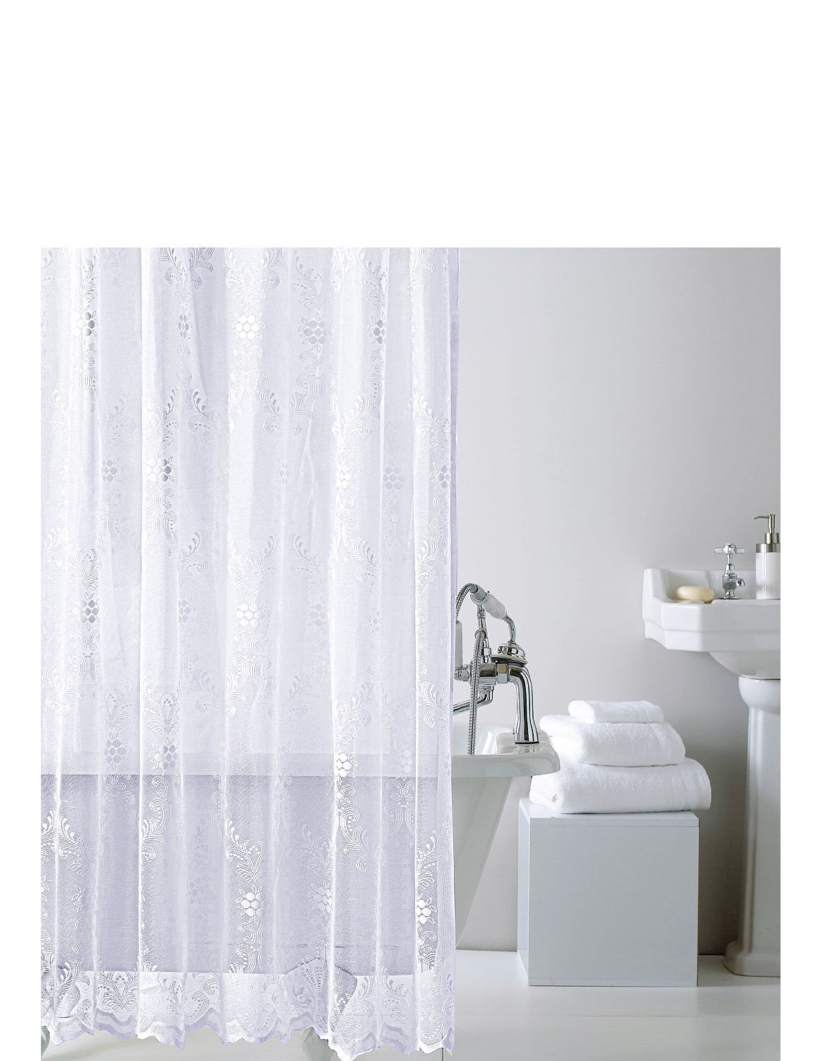 Lace Shower Curtain With Hooks