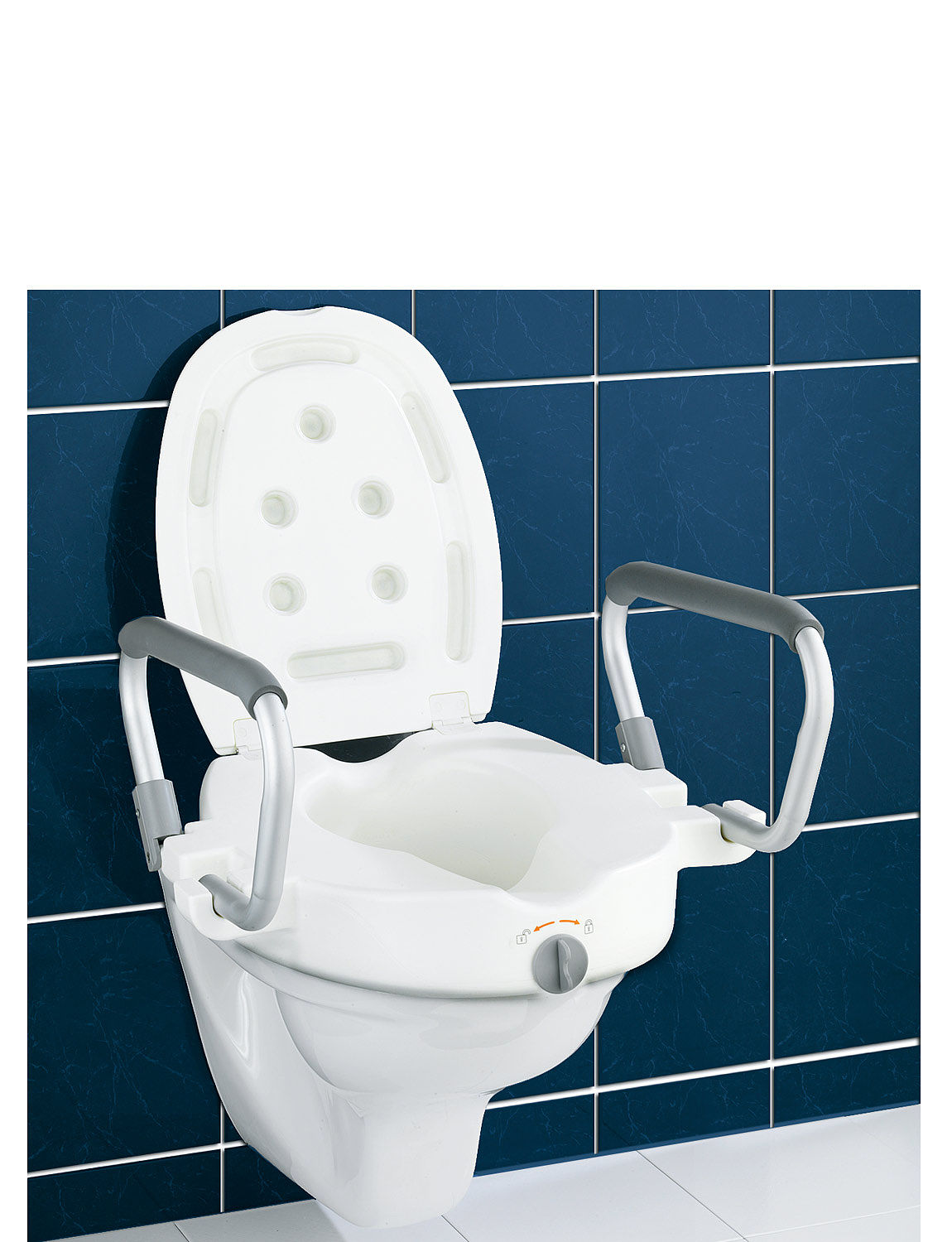 3-In-1 Raised Toilet Seat With Arms And Lid | Chums