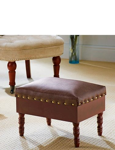 Leather Effect Storage Footstool