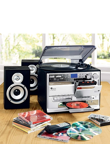 5-In-1 Music Centre with Book-end Speakers and Digital Record Facility