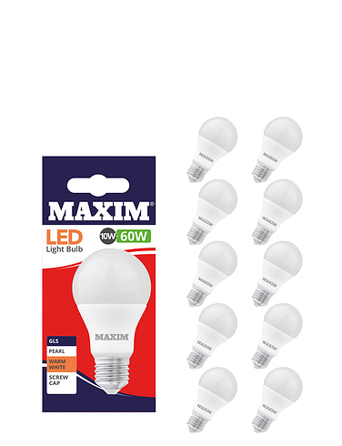 10w (60w)  Standard Screw - Lifetime Bulbs - Set of 5