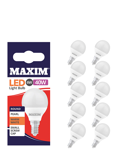 6w (40w) Golf Ball Small Screw - Lietime Bulbs - Set of 5