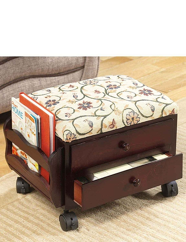 Two Drawer Real Wood Footstool