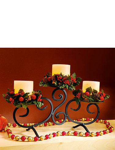 Set of 3 LED Candles With Metal Stand