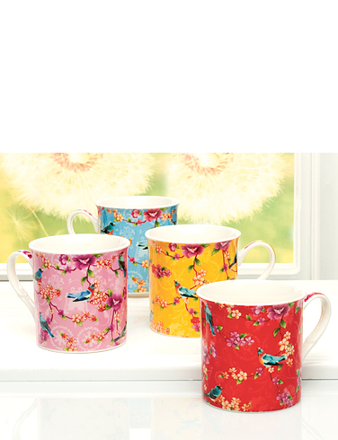 Set Of 4 Fine China Bird Of Paradise Mugs