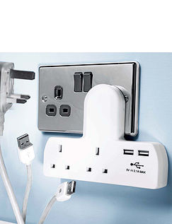 Double Extension Socket With Twin USB Connections