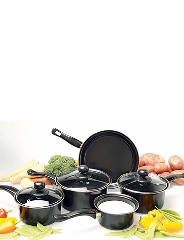 Set Of Five Nonstick Saucepans With Lid