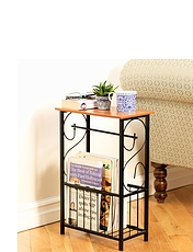 Sofa side Table with Magazine Rack