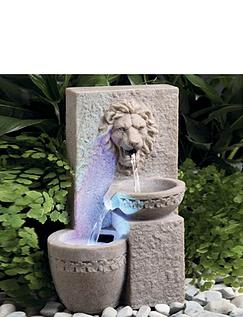 Solar Lion Head Water Fountain