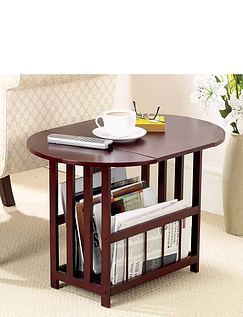 Swivel Top Drop Leaf Table with Magazine Storage