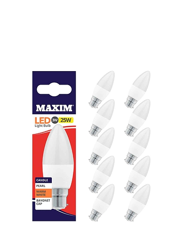 3w Lifetime Candle Bulb Bayonet Fitting Set of 5  - MULTI