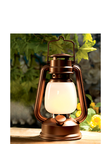 Flickering Flame Effect Copper Finish Lantern - MULTI