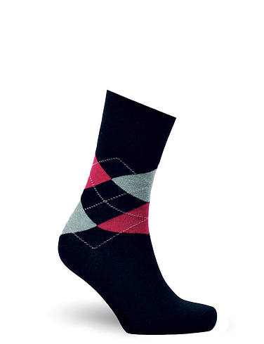 Diabetic Eazi-Grip Organic Cotton Argyle Socks 3 Pack