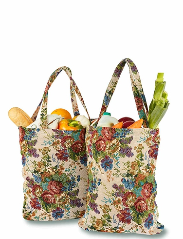 Set Of 2 Tapestry Shopping Bags