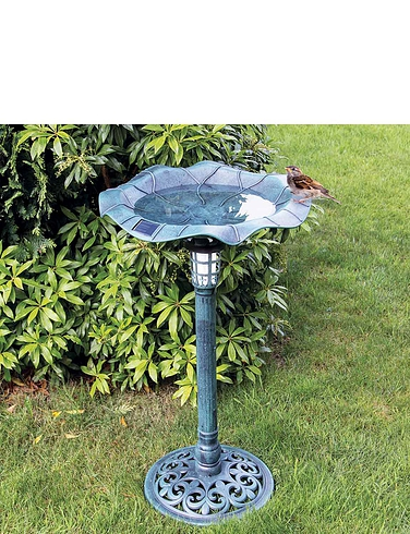 Solar Lighted Bird Bath