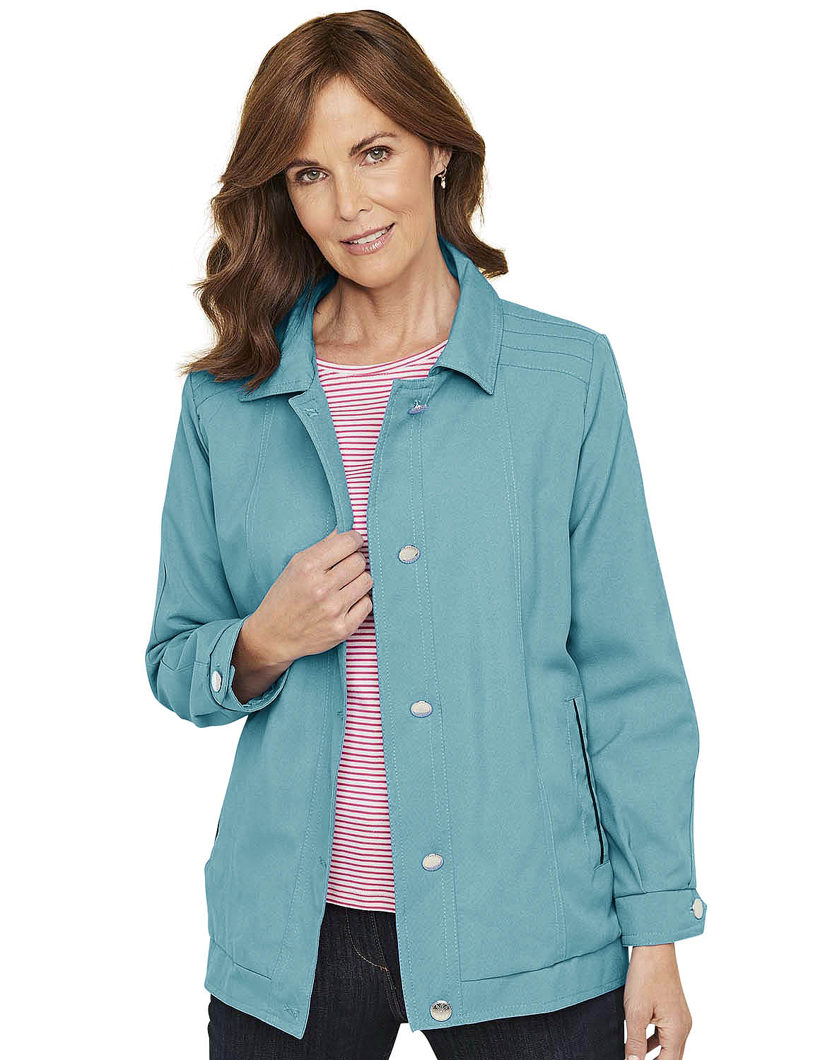 Ladies Blouson Style Lightweight Jacket Coat With Piping
