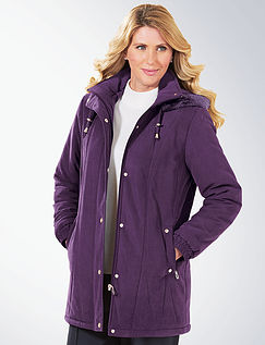 Microfibre Parka with Fur Trim Hood